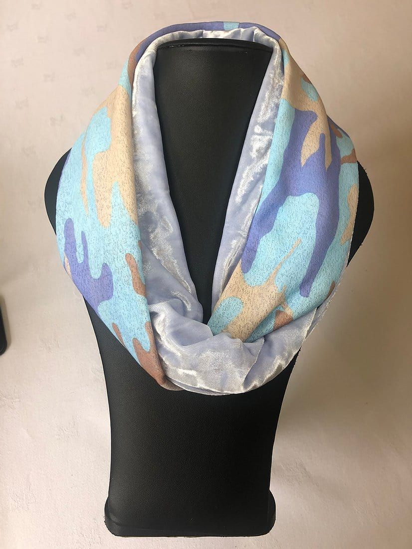 Two tone velvet snood, barely blue