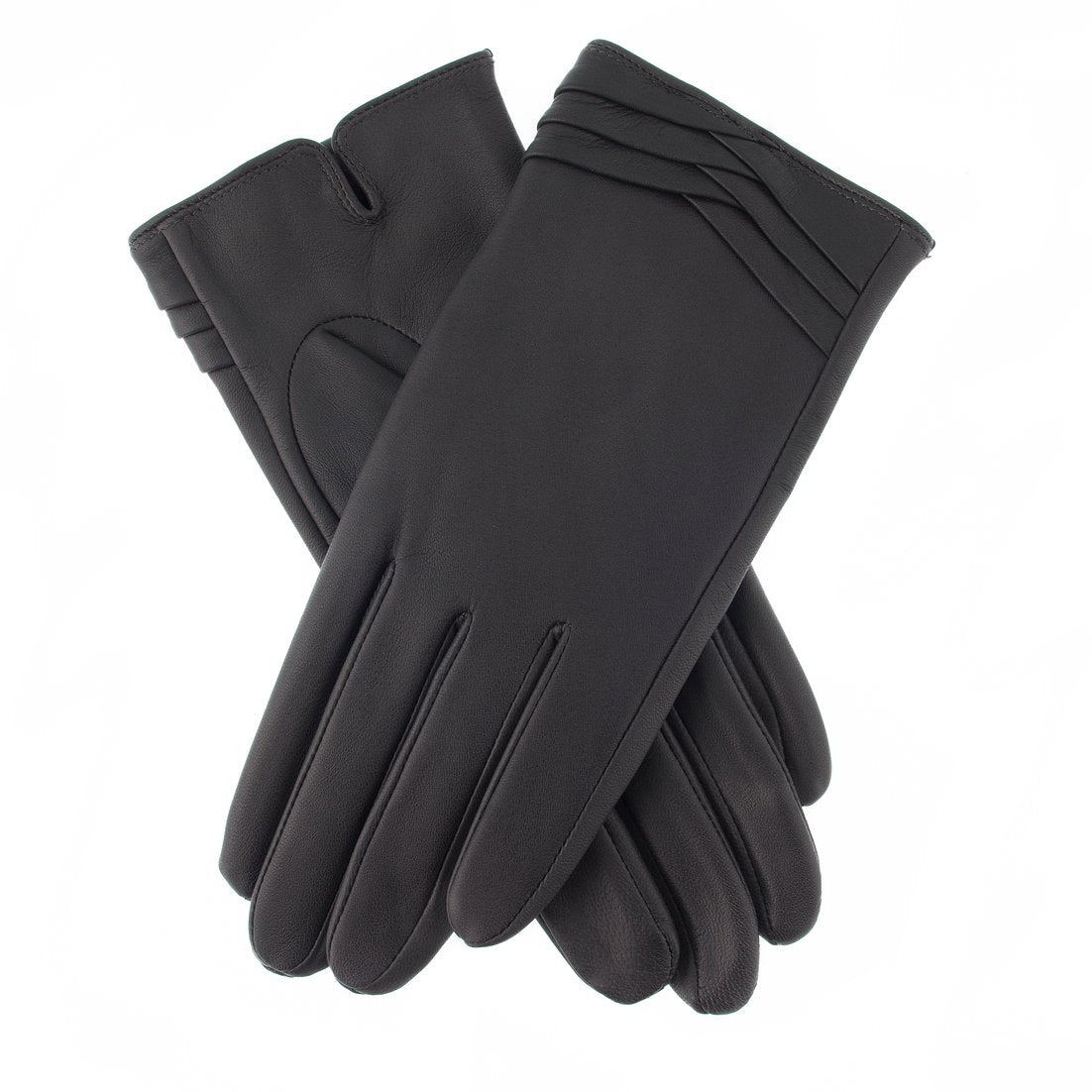 Dents 'Katrina' ladies leather glove with fold cuff detail, mid grey