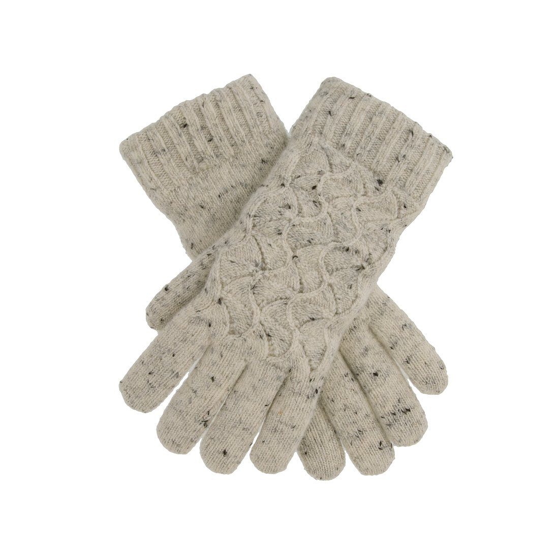 Dents knitted glove with chenille lining, white