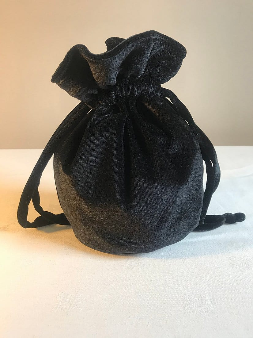 Velour evening bag, black