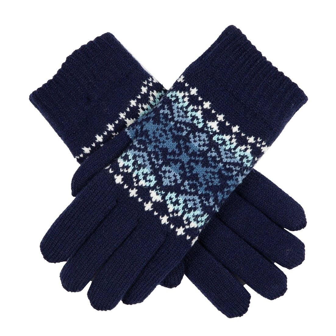 Dents knitted chenille lined gloves, navy