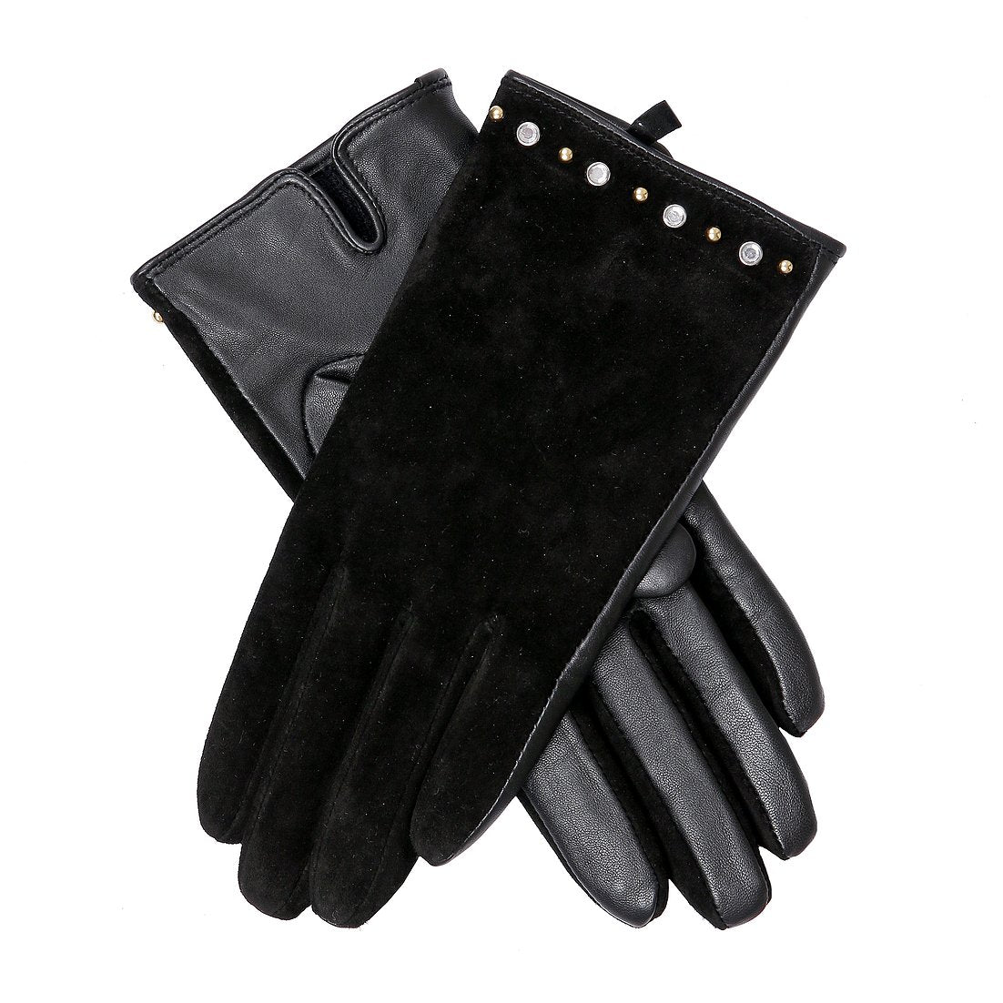 Dents ladies leather and suede glove, black