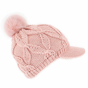 Dents knitted peak cap with faux fur bobble, pink
