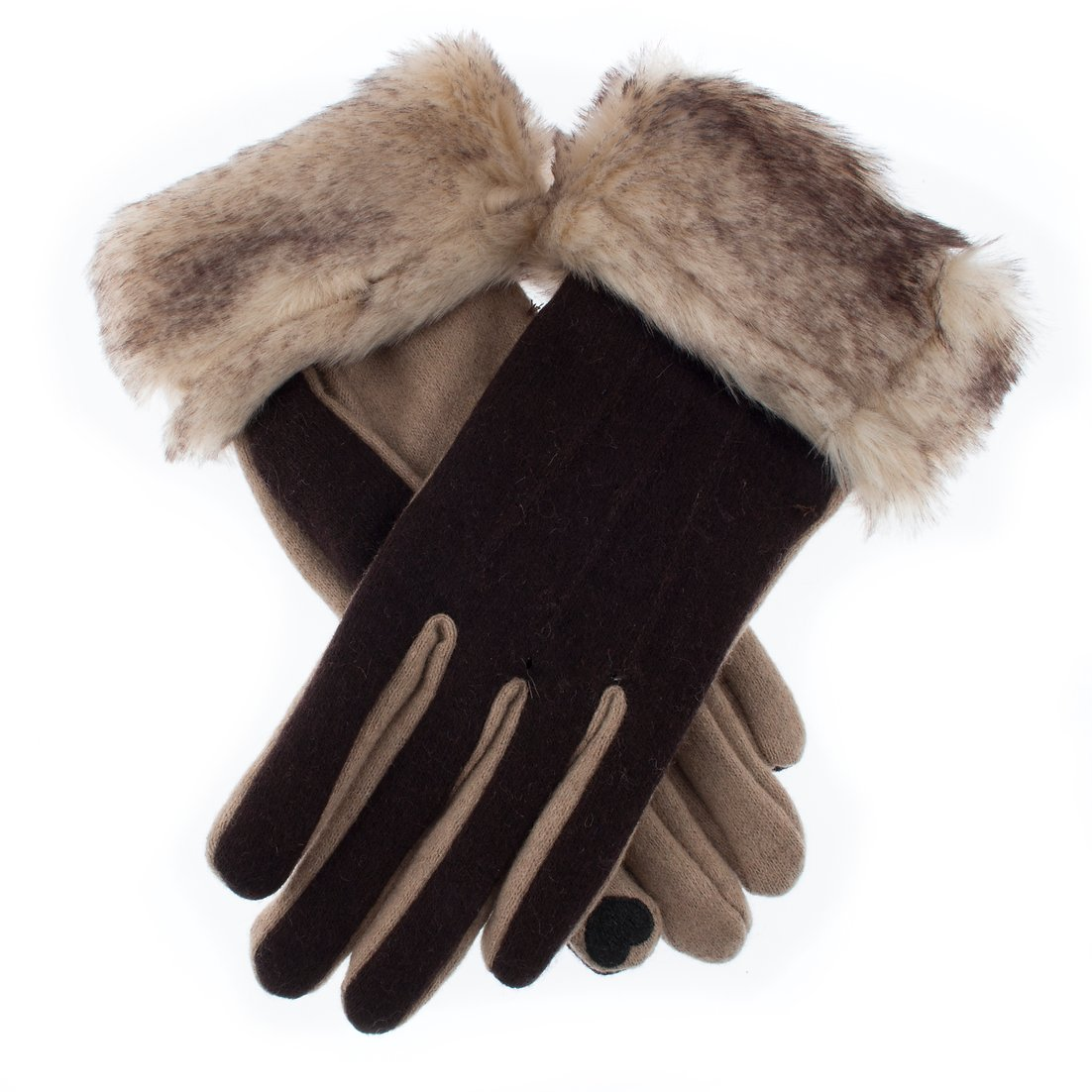 Dents wool glove with 'Touchscreen techology', brown