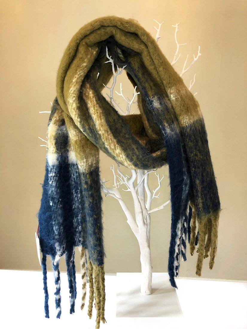Dents large blanket scarf, olive.navy