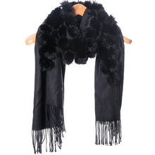 Load image into Gallery viewer, Fur Pom Pom Wrap - Black