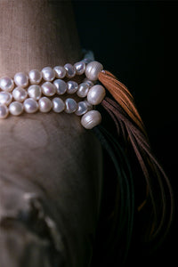 Pearl and Leather Tassel Necklace