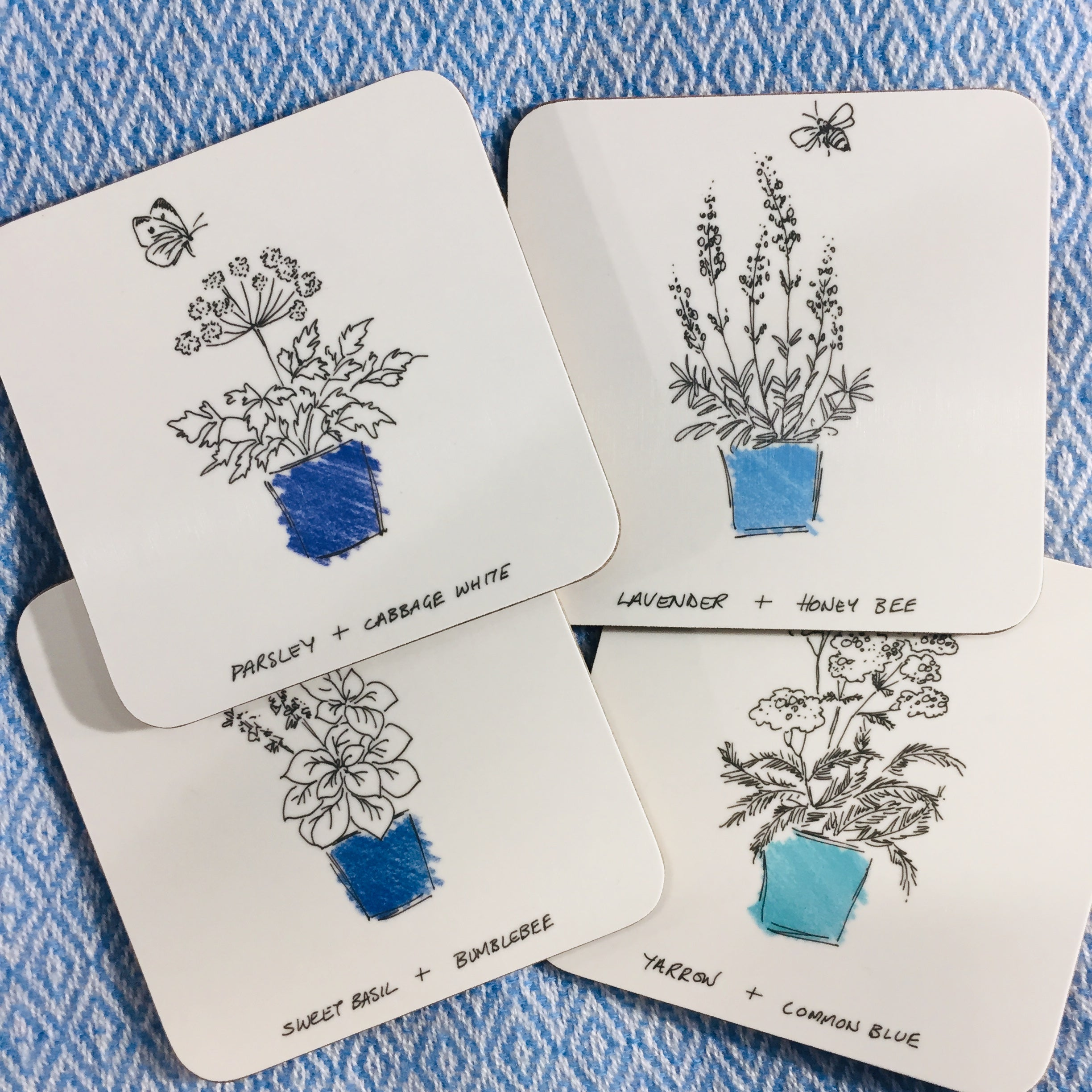 Blue Pots & Herb Coasters, Set of 4