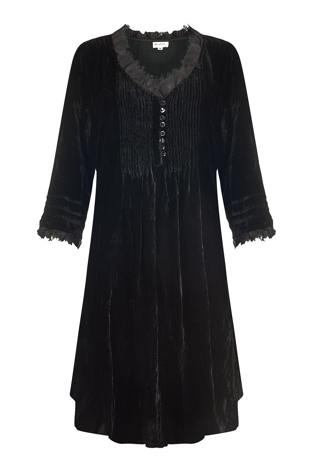 Annabel Frill Silk Velvet Long Tunic \ Dress - Black