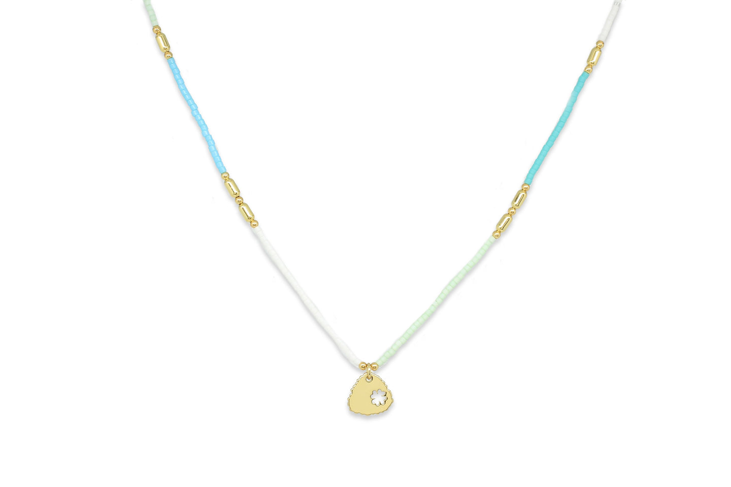 Apollo Gold & Mint Bead Short Necklace