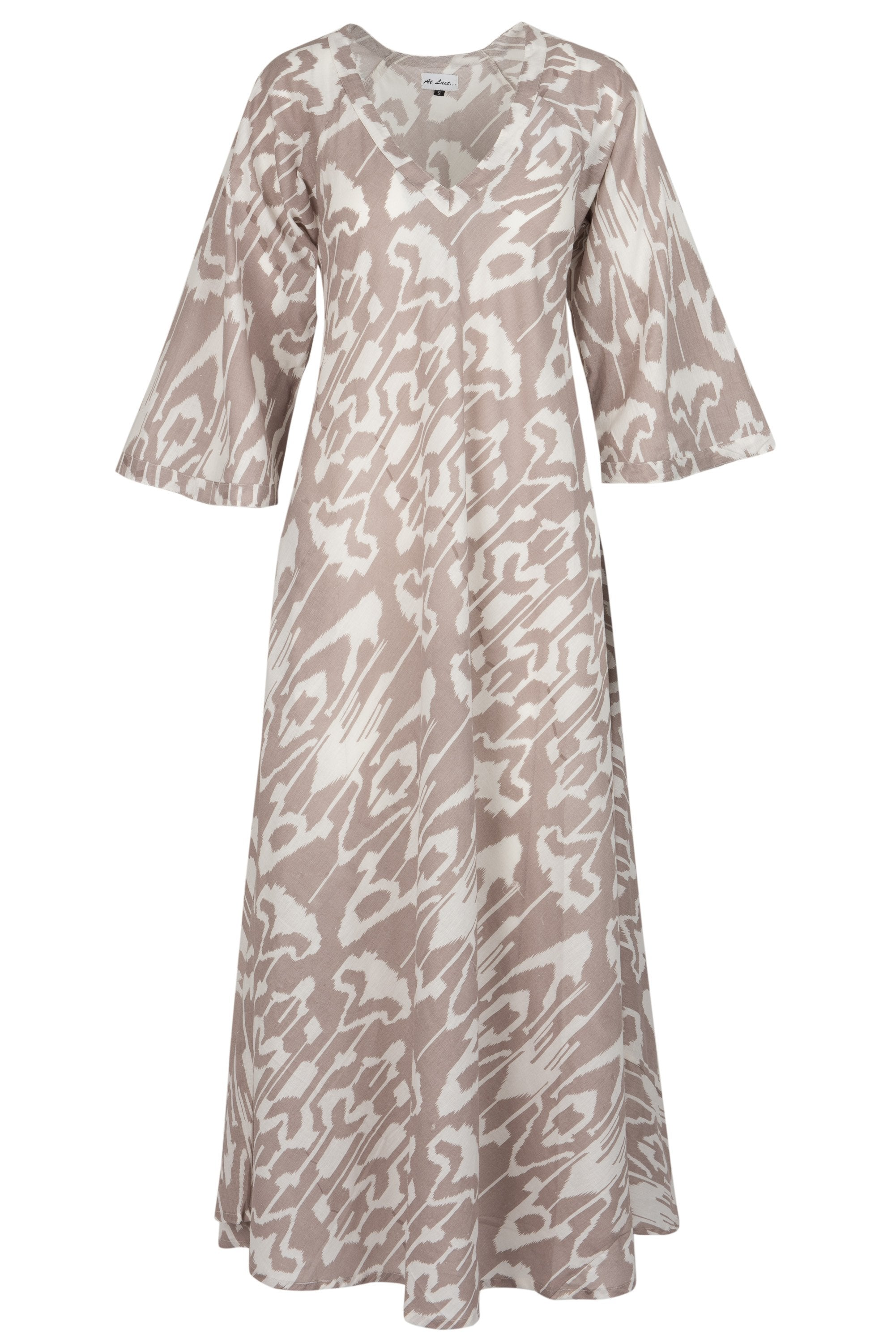 Anna Cotton Dress- Elephant Ikat