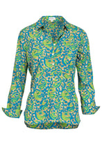 Load image into Gallery viewer, Soho Shirt with Back Detail - Turquoise and Lime