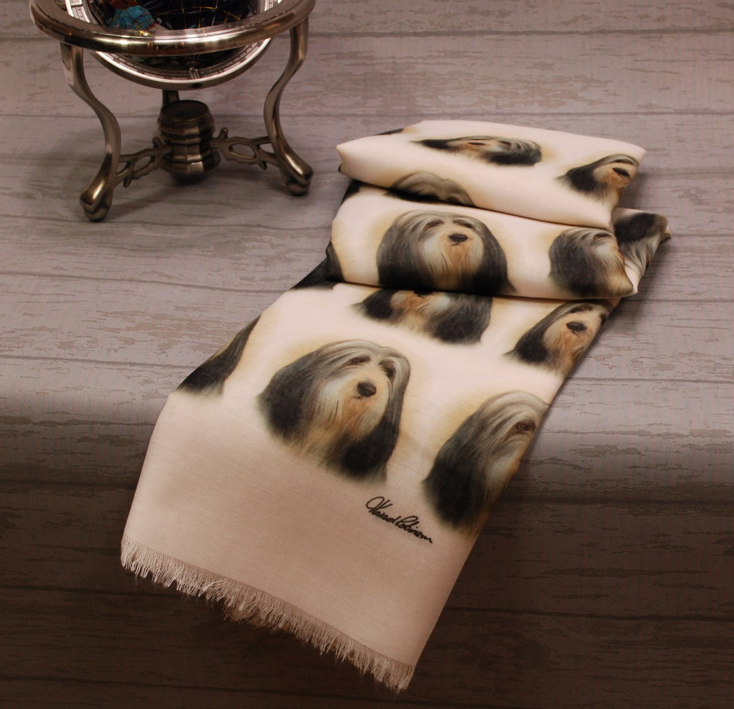 Bearded Collie Print Scarf - Howard Robinson Bearded Collie design Ladies Fashion Scarf – Hand Printed in the UK