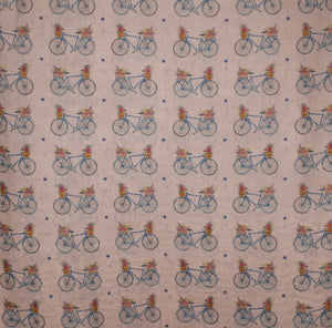 Bicycle Scarf - Basket Bike Design printed Scarf - Hand Printed in the UK - FREE personalisation