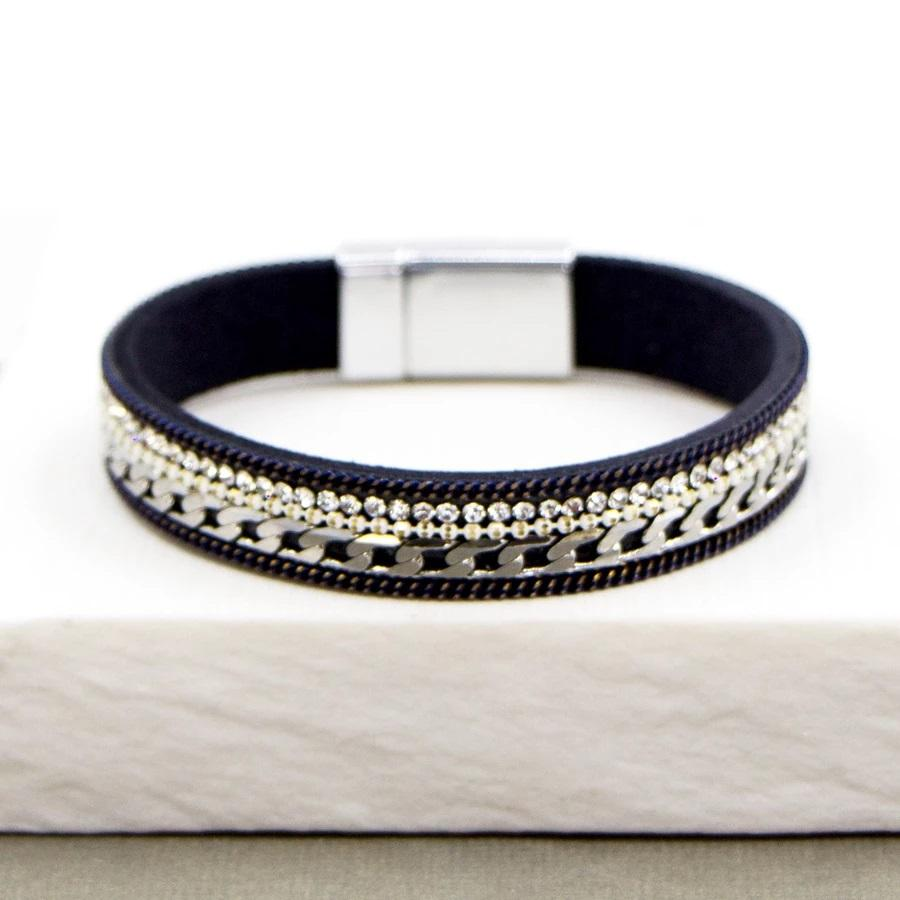 Navy Crystal And Chain Bracelet