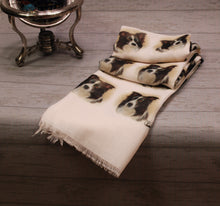 Load image into Gallery viewer, Border Collie Print Scarf - Howard Robinson Border Collie design Ladies Fashion Scarf – Hand Printed in the UK