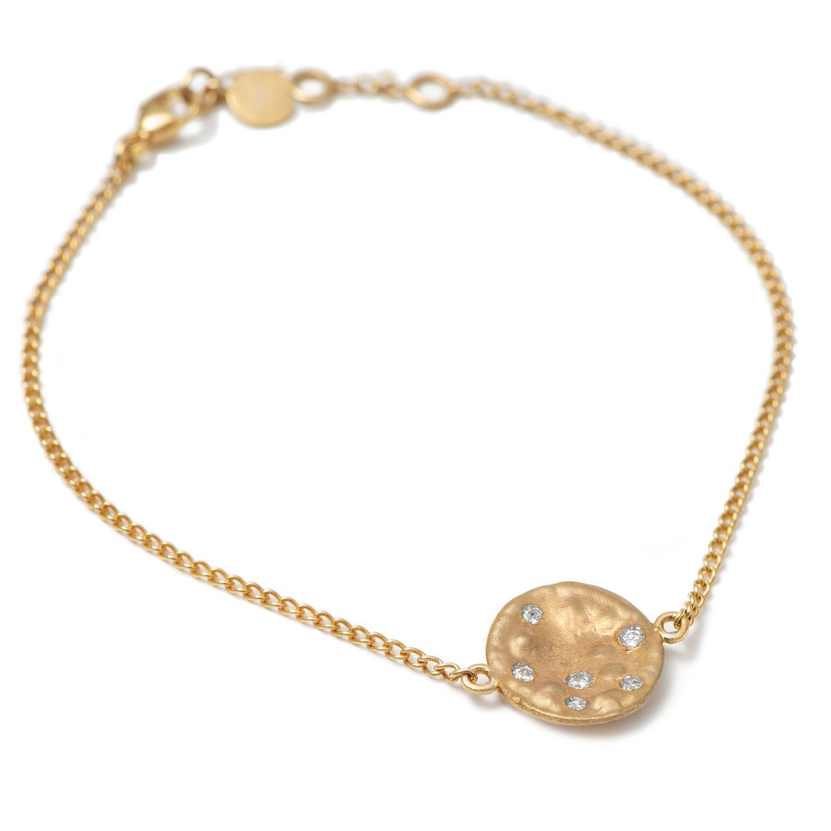 Bracelet in 9k Yellow Gold with Small Disc and Diamonds
