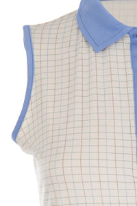 Sleeveless Polo Shirt - Cream/blue check and trim