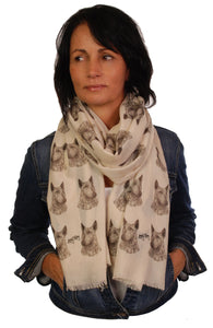 English Bull Terrier Scarf - Mike Sibley Bull Terrier Dog design Ladies Fashion Scarf – Hand Printed in the UK
