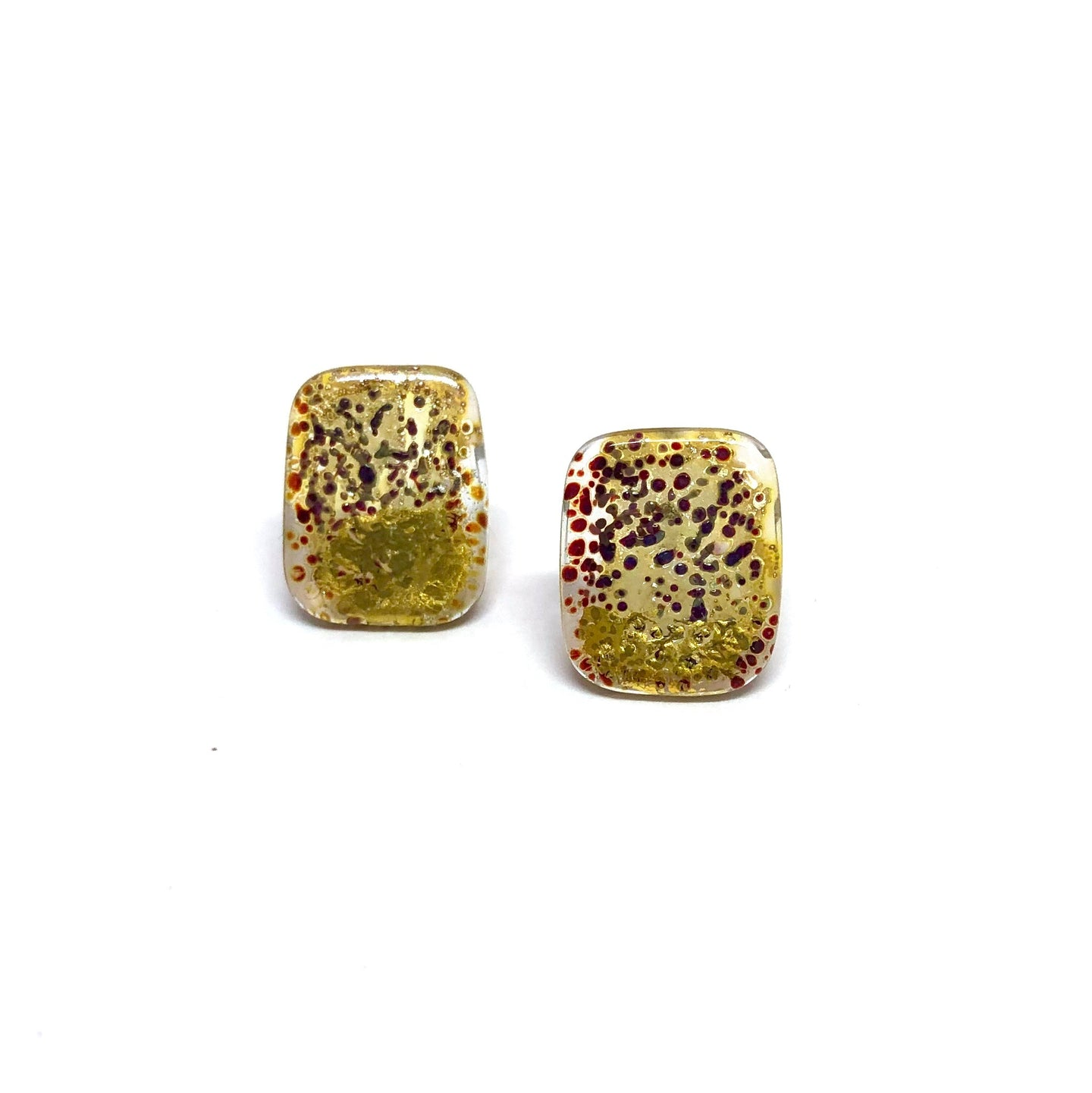 Hakone Handmade Glass Panel Stud Earrings