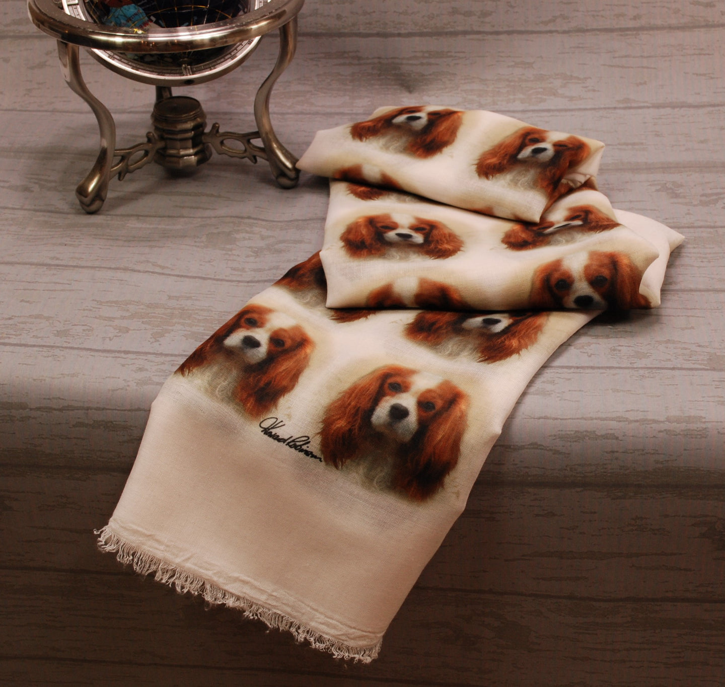 King Charles Cavalier Spaniel Print Scarf - Howard Robinson King Charles design Ladies Fashion Scarf – Hand Printed in the UK