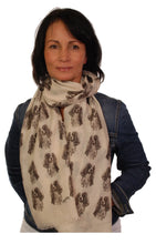 Load image into Gallery viewer, Cavalier King Charles Scarf - Mike Sibley Cavalier design Ladies Fashion Scarf – Hand Printed in the UK