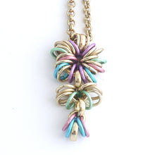 Load image into Gallery viewer, Aluminium Jewellery Chain 22 Necklace (Long Tie) - Pastel Multicolour/Gold