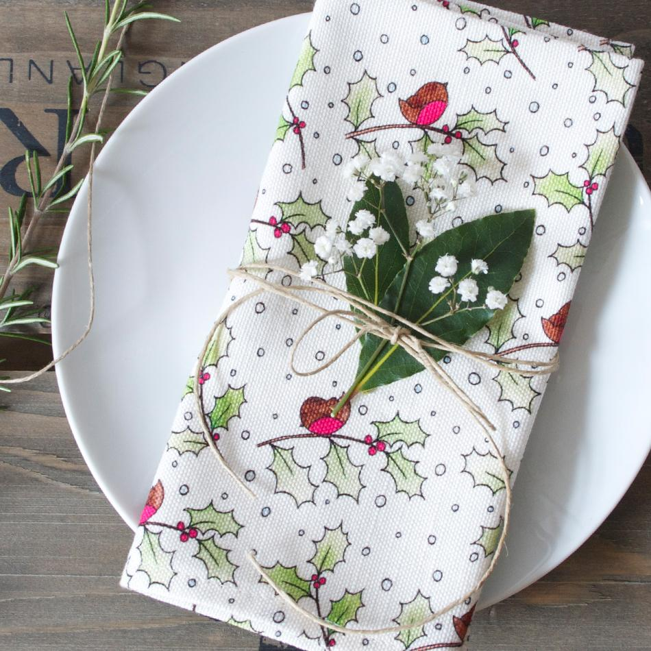 Christmas Robin and Holly Napkins - Set of 2