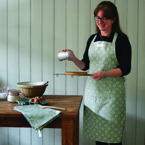 Sage Green Floral Apron and Tea Towel Set