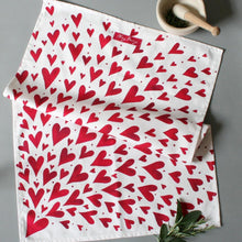 Load image into Gallery viewer, PRE ORDER - Red Shooting Hearts Tea Towel
