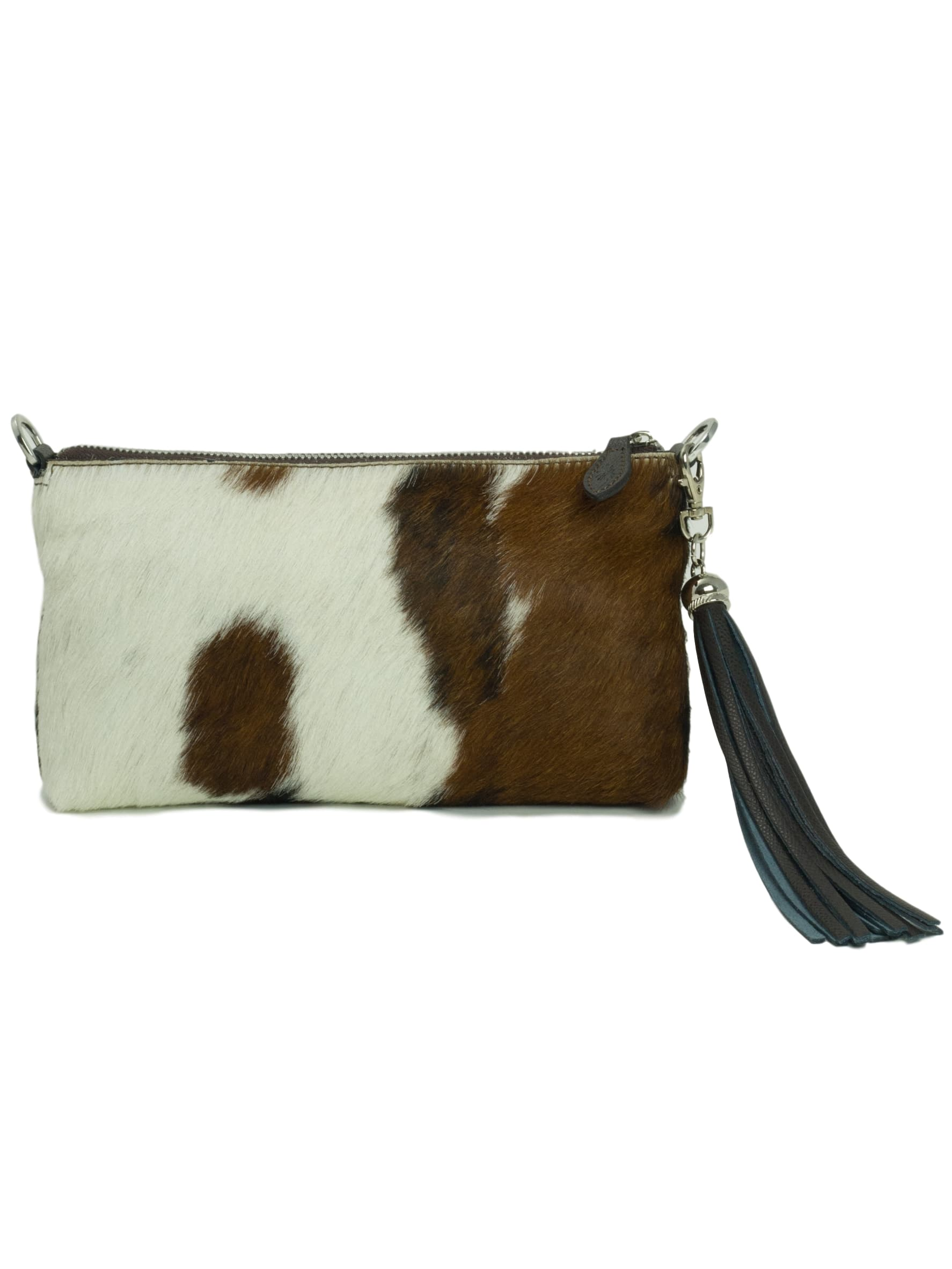 Clutch bag - brown cowhide furry Forget Me Not
