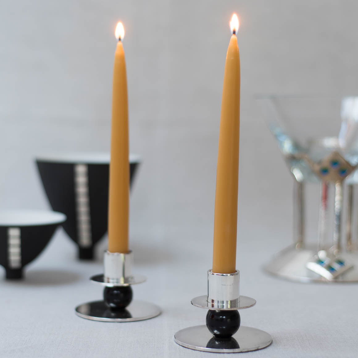 Beeswax dinner candle pair dipped