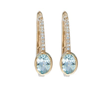 Load image into Gallery viewer, Blue Topaz and White Sapphire Earrings