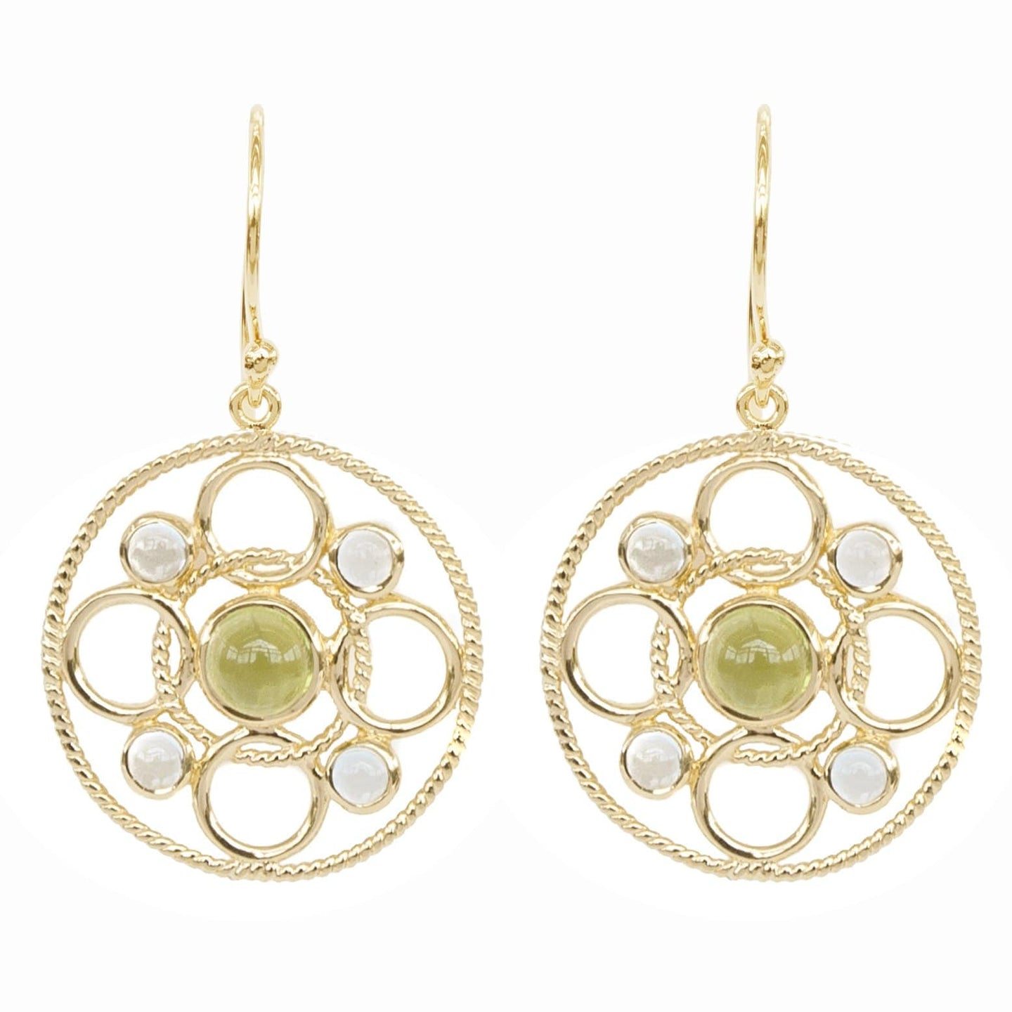 Vermeil Circle Link Earrings with Cabachon Peridot and Sky Blue Topaz 'new'