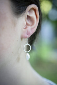 Pearl and silver circle drop earrings