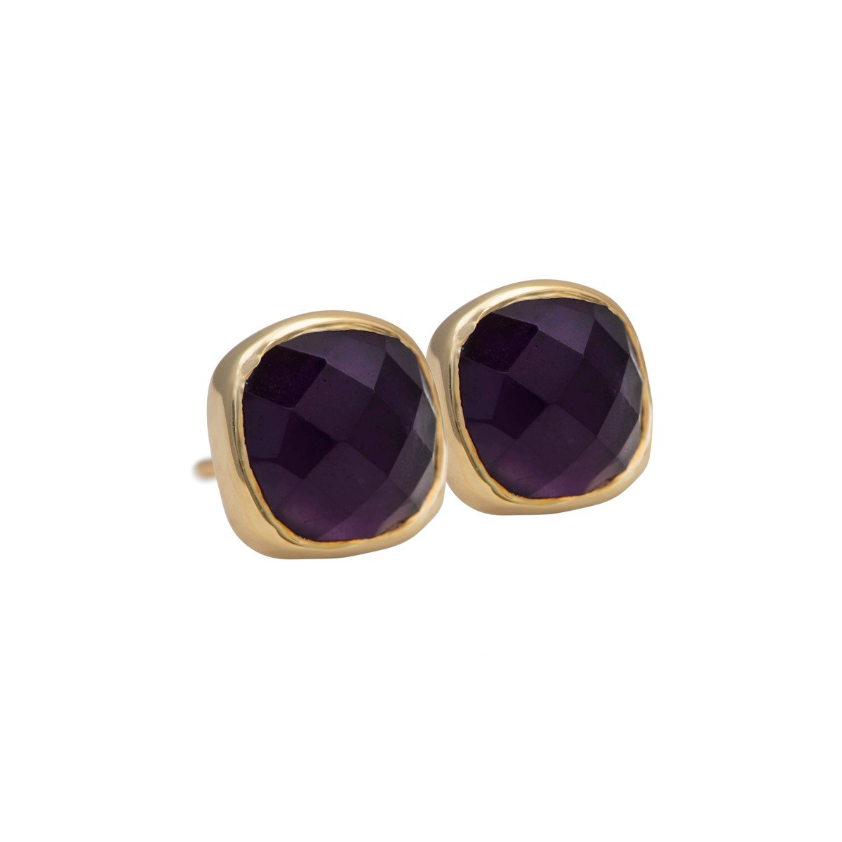 Faceted Square Amethyst Gemstone Stud Earrings in Gold Plated Sterling Silver