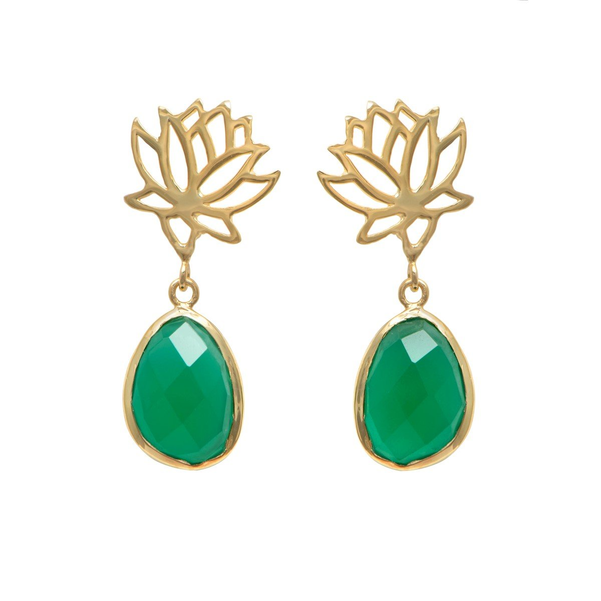 Lotus Earrings in Gold Plated Sterling Silver with a Green Onyx Gemstone Drop
