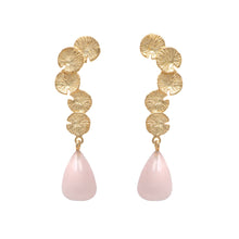 Load image into Gallery viewer, Lily Pad Earrings in Gold Plated Sterling Silver with a Rose Quartz Stone Drop