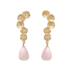 Lily Pad Earrings in Gold Plated Sterling Silver with a Rose Quartz Stone Drop