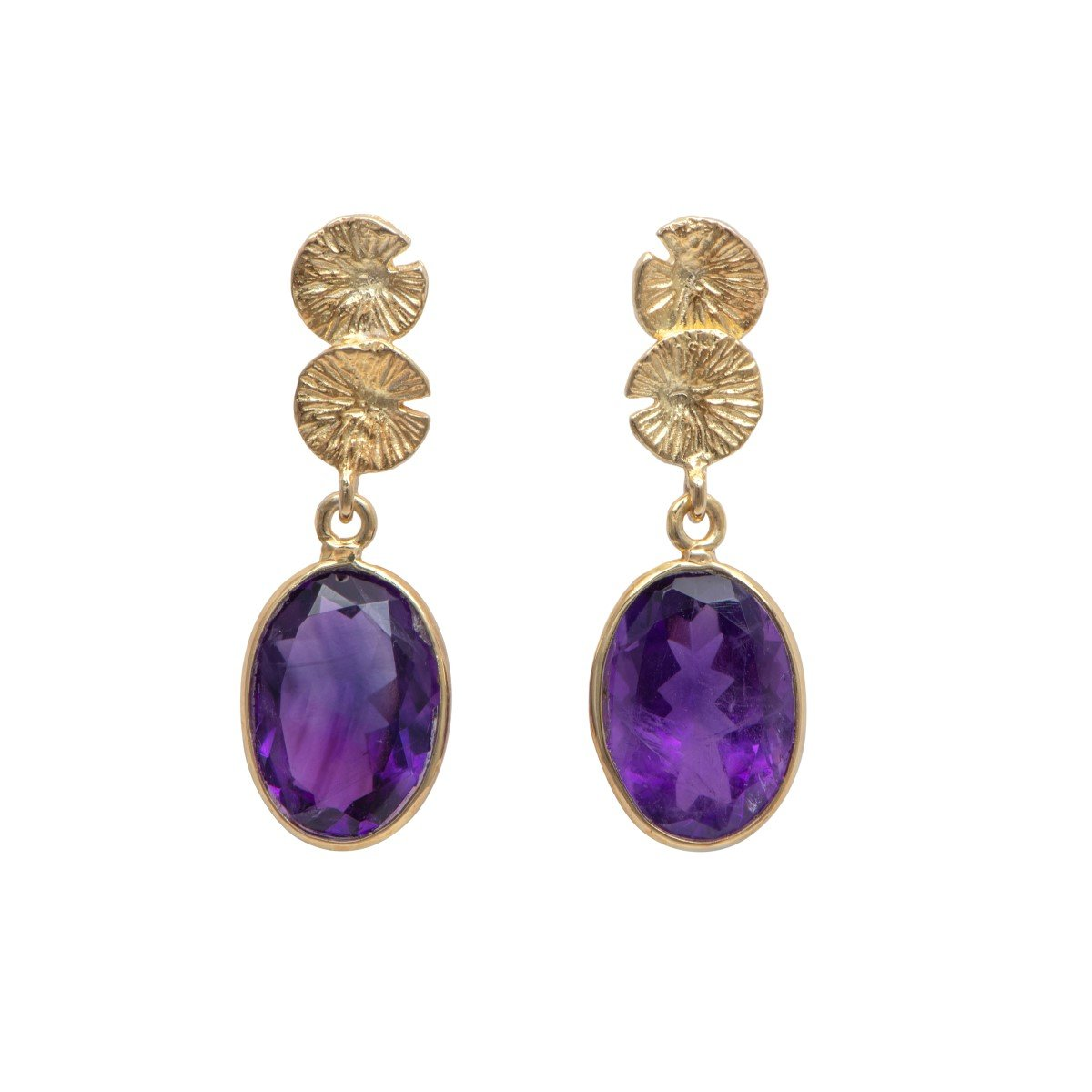 Lily Pad Earrings in Gold Plated Sterling Silver with an Amethyst Gemstone Drop