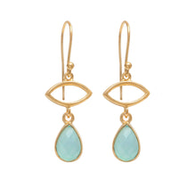 Load image into Gallery viewer, Gold Plated Drop Earrings with Aqua Chalcedony Gemstone