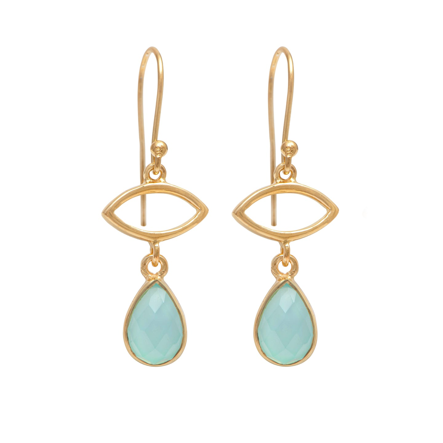 Gold Plated Drop Earrings with Aqua Chalcedony Gemstone
