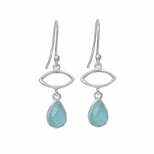 Load image into Gallery viewer, Silver Drop Earrings with Aqua Chalcedony Gemstone