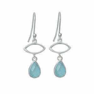 Silver Drop Earrings with Aqua Chalcedony Gemstone