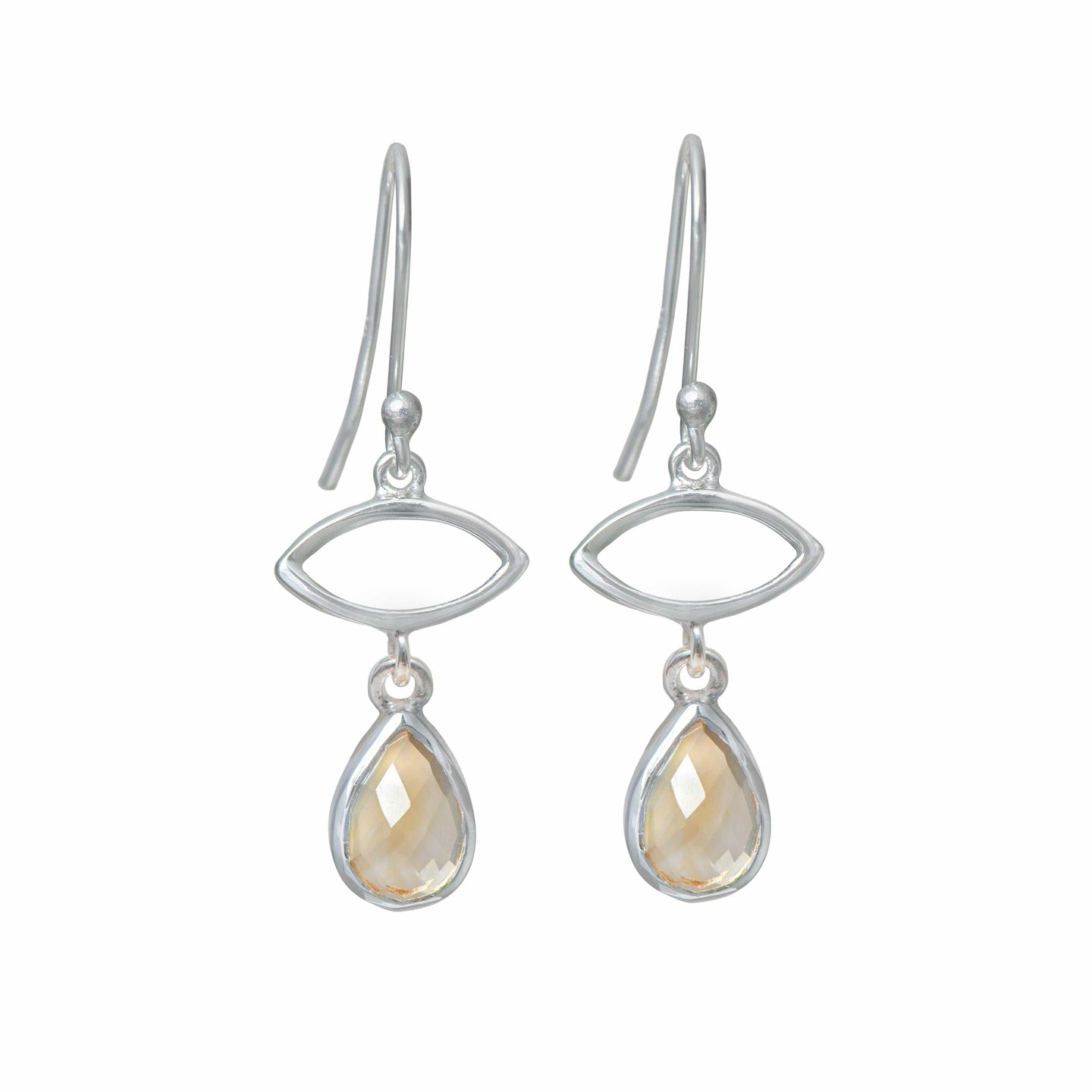 Silver Drop Earrings with Citrine Gemstone