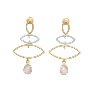 Long earrings in sterling silver and gold plated sterling silver with a stone drop - Rose Quartz