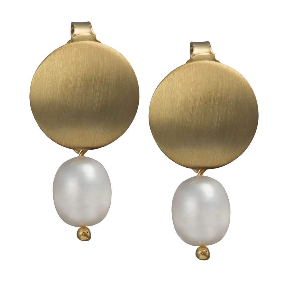Brushed Gold Plated Silver Earrings - Pearl