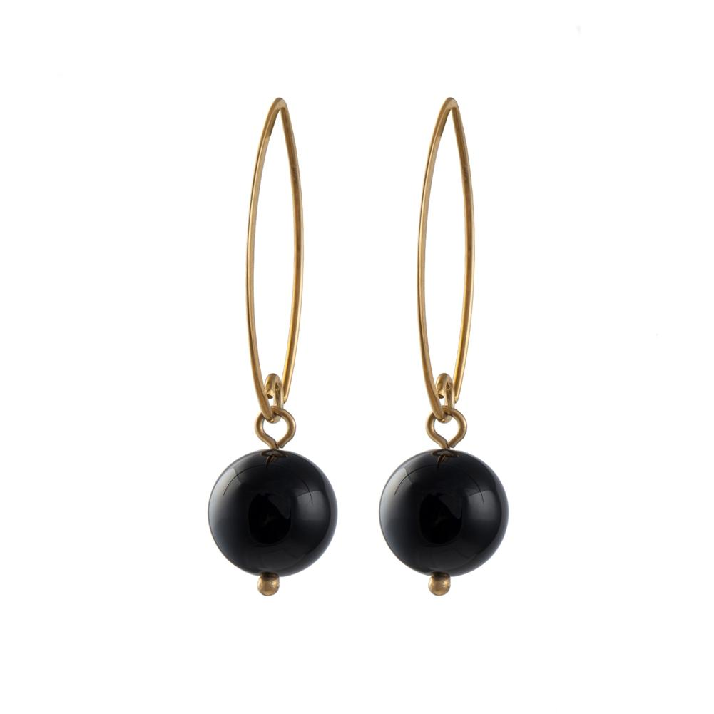 Gold Plated Silver Hook Earrings - Black Onyx