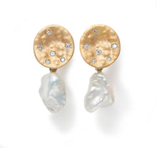 Load image into Gallery viewer, Earrings in 9k Yellow Gold with White Pearl Drop and Diamonds