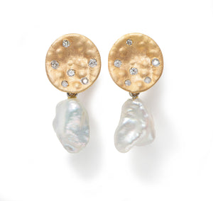 Earrings in 9k Yellow Gold with White Pearl Drop and Diamonds